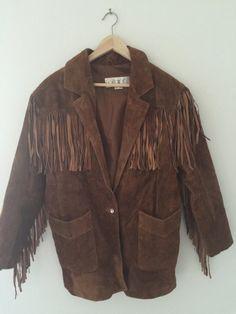 Vintage Comint Leather Suede Western Tassel Fringe Jacket - Size... #CafeMotique #ColoradoSprings #vintagelifestyle #caferacer #vintagemoto