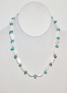 Turquoise and Mother of Pearl Beaded Necklace   by SCLadyDiJewelry
