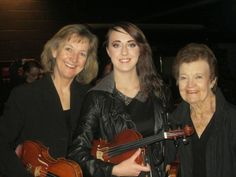 Three generations of OSU violinists:  Colleen, Sage, and June.  Messiah 2014 performance. (photo by Sara Penny)