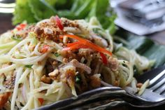 G's fav dish of the trip, smoked fish mango salad. Sugar Palm in Siem Reap