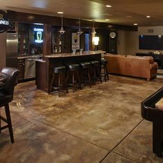 Mancaves Design Ideas, Pictures, Remodel, and Decor - page 12 Stained Cement floor