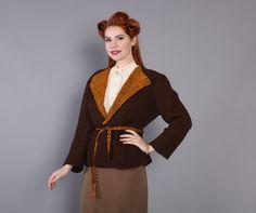 40s Crochet Wool CARDIGAN / Brown & Mustard Yellow 1940s Belted SWEATER