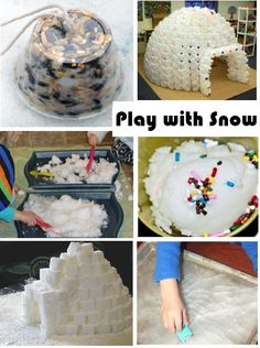 lots of different activities to do with snow - inside.