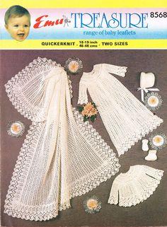 baby christening dress matinee coat and shawl set vintage knitting pattern PDF… Baby Knitting Patterns, Baby Patterns, Crochet Patterns, Baby Christening Dress, Layette Pattern, Baby Shawl, Baby Layette, Crochet Baby, Knitted Baby