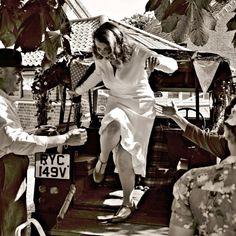 Bride enjoying her wedding day! A 1940s COUNTRY VILLAGE WEDDING: TONY WRIGHT & SALLY-ANNE LOMAS | Raspberry Wedding