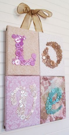 Baby Nursery Button Letter Art Wall Hanging, Children Wall Art, LOVE in Lilac Pink Buttons and Mother of Pearl, 10x14, Ready to Ship Now via Etsy
