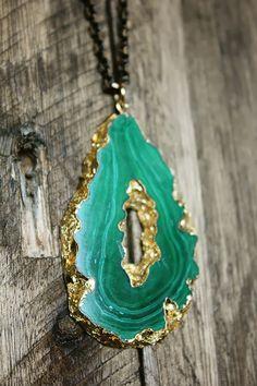 hello hydrangea: Gilded Geode Necklace