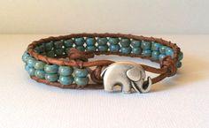 Elephant Good Luck Charm Bracelet   Blue by Jennasjewelrydesign