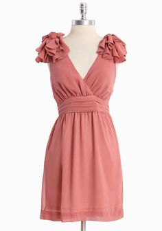 """Falling Petals Ruffle Shoulder Dress 48.99 at shopruche.com. Delicate floral details cascade from the shoulders on this semi-sheer, dusty pink dress. Perfected with a fitted waist, a surplice neckline, and a hidden side zipper. Partially lined.  100% Polyester, Imported, 33.5"""" length from top of shoulder"""