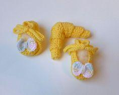 Девочку вязаное желтое с длинным рукавом по EccentricEmporium1