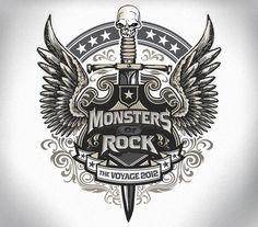 Design for the Monsters of Rock Kid Rock, Lynyrd Skynyrd, Monster Rocks, Def Leppard, Guitar Logo, Typo Design, Graffiti Wallpaper, Luxury Logo, Tattoed Girls