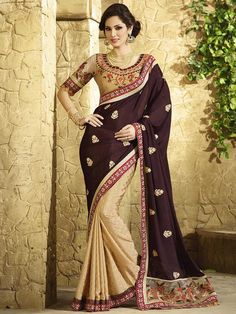 Dark Brown with Beige Partywear Designer Saree 2402KS