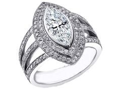 Marquise Diamond Engagement Ring Halo Trio Band - ES1119WG