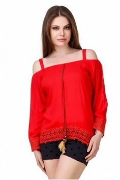 POUR FEMME Red Rayon Crepe Off And On Shoulder Full Sleeve Lace Top Trendy Tops For Women, India, Stylish, Shoulder, Blouse, Lace, Sleeve, Red, Shirts