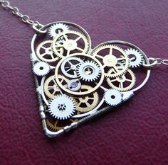 Beautiful gear and cogs heart shaped neckless