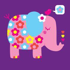 Sami Sweeten - floral pink elephant with birdy thinking flower Elephant Images, Elephant Pictures, Elephant Love, Elephant Art, Elephant Design, African Elephant, Elephant Stuff, Square Drawing, Decoupage