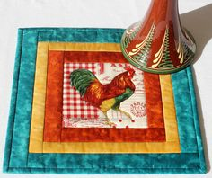 Quilted Mug Rug  Rooster Mug Mat  Country Mug by RedNeedleQuilts, $18.00