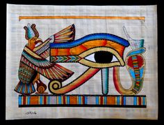 "Ancient Egyptian Art on Egyptian Papyrus. Unique Handmade Art For Sale at arkangallery.com | Title: ""Eye of Ra"" 