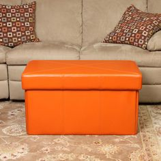 Orange Storage Ottoman: Stylish And Functional Storage Idea