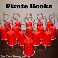 Cute kids party idea for a pirate theme with these solo cup pirate hooks!