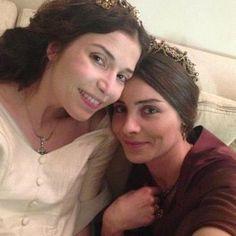 """Hatice sultan"" (Selma Ergeç) and ""Mahidevran sultan"" (Nur Veziroglu) backstage, but still hot as hell..."