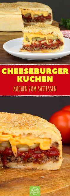 Cheeseburger-Rezept für einen herzhaften XXL-Kuchen Cheeseburger recipe for a hearty XXL cake. Not only does it look stunning, it also tastes fantastic. The best – completely homemade! Burger Recipes, Pizza Recipes, Grilling Recipes, Cake Recipes, Drink Recipes, Big Mc, Burger Co, Vegetable Drinks, Party Snacks