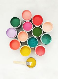When the paint pots look like this, we\'re in for a colourful decorating ride. #TheJewelleryEditorLoves #OverTheRainbow