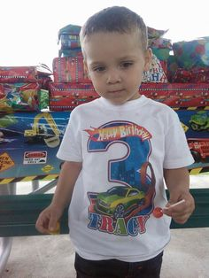 Hot Wheels Inspired Birthday shirt, Choice of 3 Designs.Comes wiht Name and Birthday number