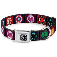 Dog Collar AVS - Avengers 8-Icon Blocks Black/MC -- Continue to the product at the image link. (This is an affiliate link and I receive a commission for the sales) #Doggies