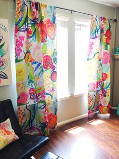 Colorful Neon Summer Floral Painting Print Art Curtains Colorful Neon Summer Floral Painting Print Art Curtains lorena ortega Home Your drapes don t have to be so drab nbsp hellip Bright Curtains, Home Curtains, Floral Curtains, Curtains Living, Colorful Curtains, Window Curtains, Patchwork Curtains, Painted Curtains, Custom Drapes