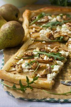 Pear, feta and walnut tart