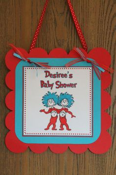 Dr Seuss Thing 1 Thing 2  Baby Shower Birthday Party Personalized Door Sign