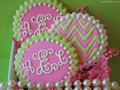 Monogram cookies girly party colorful food sweet cookies