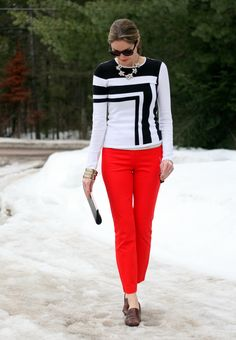 Colorblocked sweater and red crop pants ---love this look----