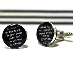 Black and White Wedding Vows Cufflinks. Customizable for You and Made to Order.