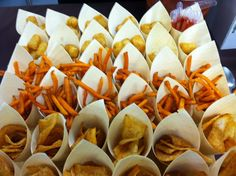 Kids Party Menu, Wedding Hors D'oeuvres, Sweet Potato Chips, Paper Cones, Vegetable Sides, Ketchup, Sweet 16, Catering, Fries