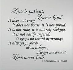 1 CORINTHIAN 1348 Love is Patient Love is Kind by BandGVinylDecals, $18.99