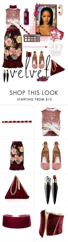 """""""Crushing on Velvet"""" by celeste-menezes ❤ liked on Polyvore featuring Allurez, Topshop, Alice Archer, Aquazzura, Street Level, Christian Louboutin, Georgine, GUESS by Marciano, Puma and AYA"""
