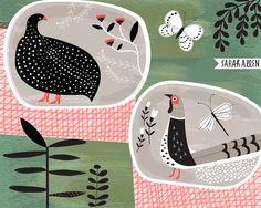 Sarah Allen Illustration Guinea Fowl and Pheasant, design for ceramic plates.