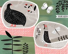 Sarah Allen Illustration Guinea Fowl and Pheasant, design for ceramic plates.