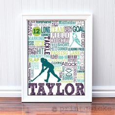 Field Hockey Poster Personalized Field Hockey by PrintChicks