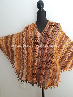 ****CROCHET-PATTERN**** (English-US & Dutch)  Poncho with sleeves / swoncho.  Note: you can also make a shirt / sweater with this pattern. Sew or crochet the seam below the sleeves together.  ​This poncho is crocheted with Ice yarns Primadonna 100 grams / 300 meters, with crochet hook no. 4 (Dutch size). It is approx 62 cm (height) – 137 cm (width). Necessities : Ice yarns Primadonna * – approx. 530 grams = approx. 1590 meters - 1739,46 yards​  *Ice yarns Primadonna is self striping yarn…