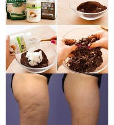 """Cellulite has been long-deemed """"untreatable."""" But frequently, the solve for many of our beauty concerns is already in our pantry or garden. Try this at-home cure using coffee grounds and coconut oil for cellulite. Bb Beauty, Beauty Care, Beauty Skin, Cellulite Remedies, Cellulite Scrub, Reduce Cellulite, Anti Cellulite, Tips Belleza, Beauty Recipe"""