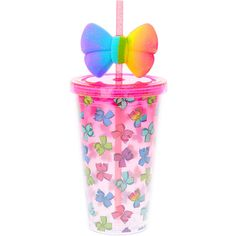 We all know that drinks taste better if they're cute cups! This pink tumbler from JoJo Siwa is the perfect accessory because it's cute and functional! This tumbler is decorated with rainbow-colored bows and a large rainbow bow on the straw. Jojo Siwa Birthday, Unicorn Birthday Parties, 8th Birthday, Birthday Ideas, Jojo Siwa Bows, Jojo Bows, Its Jojo Siwa, Baby Girl Toys, Toys For Girls