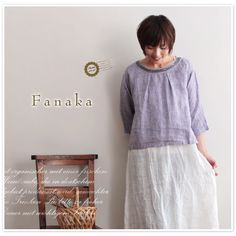 【Fanaka ファナカ】スパンコール 刺繍 リネン コットン タック ブラウス(41-2007-107)