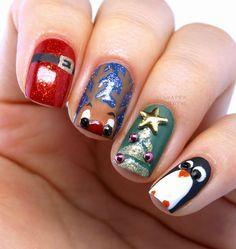 Christmas Nails: Santa's Suit, Reindeer, Christmas Tree & A Penguin Cutie