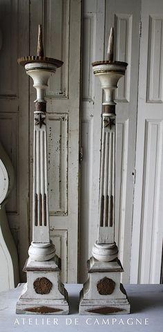 #21/221 Pr. Wooden Church Candle Sticks