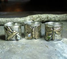 Sterling Silver Hummingbird Ring with Choice of stone - Dragonfly and Butterfly also available     ....from Lavender Cottage Jewelry