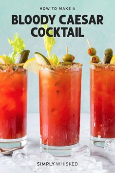 The Bloody Caesar cocktail is a classic Canadian vodka drink made with clam and tomato juice, rimmed with celery salt and garnished with celery and a lime. Best Bloody Mary Recipe, Bloody Mary Recipes, Bloody Mary Recipe With Clamato Juice, Clamato Recipe, Bloody Ceasar, Ceasar Drink, Canadian Drinks, Caesar Cocktail, Caesar Recipe