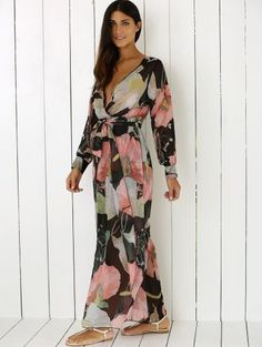 a5644625ae5 Boho Floral Long Sleeve Surplice Dress